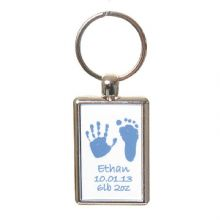 Double-Sided Coloured Hand & Foot Print Keyring - Baby Handprints and Footprints Keepsake